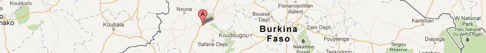 Kaart van Burkina Fase met een pijl vlak bij de stad Dedougou